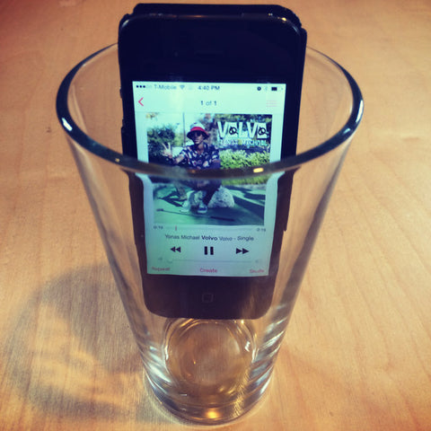 iphone in a glass