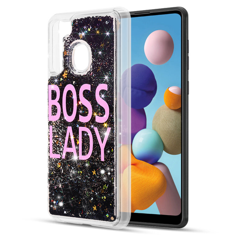 Boss Lady Floating Glitter Case for Galaxy A21