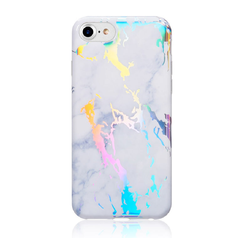 Holographic Streak White Marble Case for iPhone