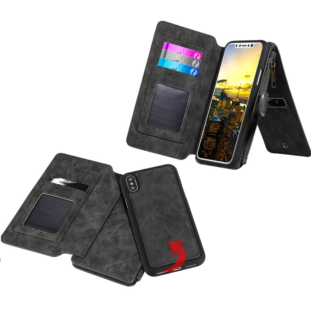 Classy Wallet with Magnetic Removal Black for iPhone