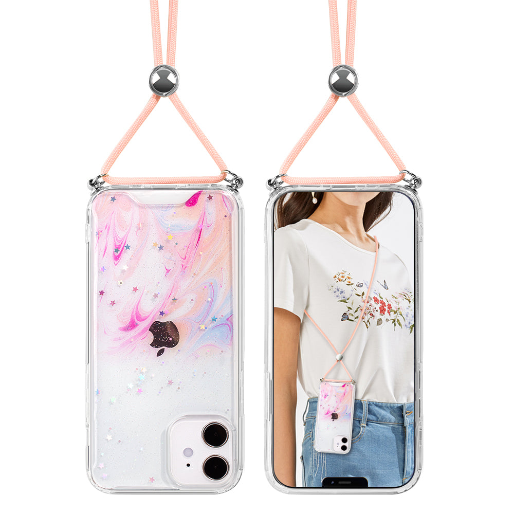 Pink Unicorn Swirl Lanyard Case for iPhone