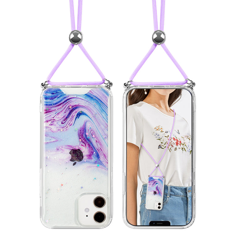 Purple Galaxy Swirl Lanyard Case for iPhone