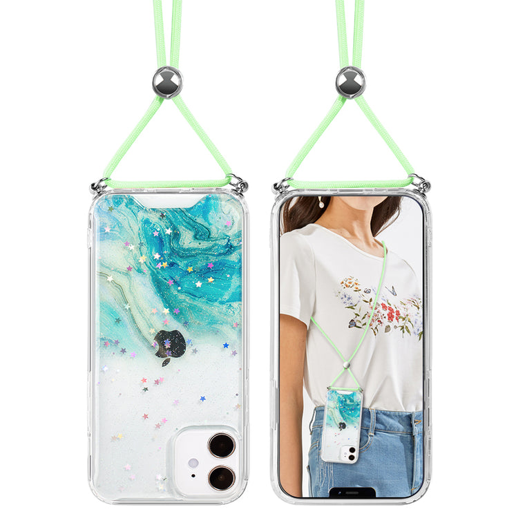 Green Ocean Swirl Lanyard Case for iPhone