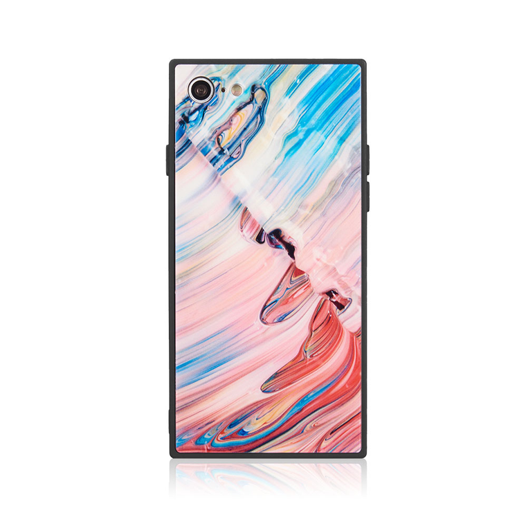 Watercolor Tempered Glass Square Case for iPhone