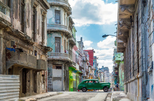 Crumbling Jewel Coloured Buildings in Old Havana