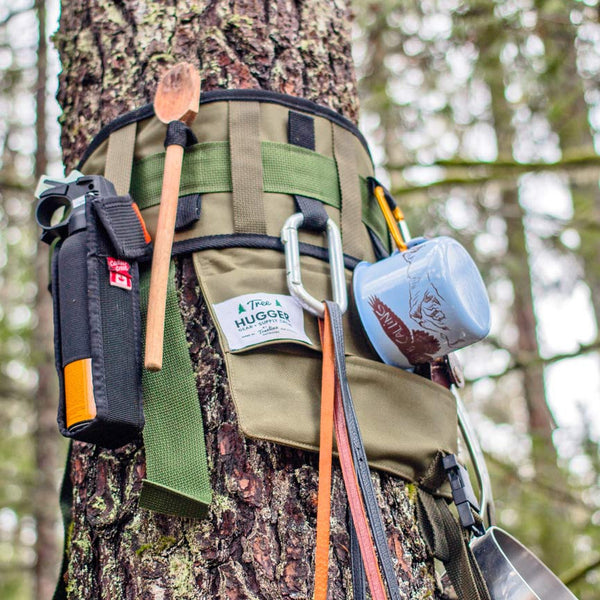 Tree Hugger organizer with camp kitchen items attached