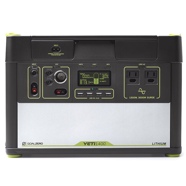 Yeti 1400 Lithium Portable Power Station front view of controls and connectors