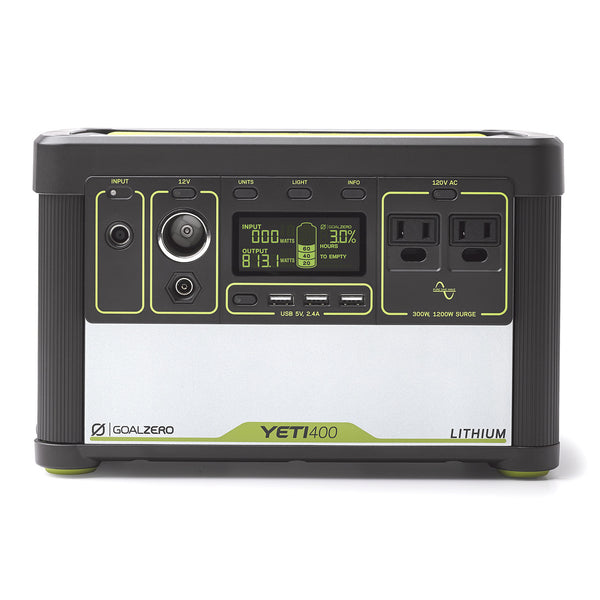 Yeti 400 Lithium Portable Power Station front view of controls and connectors