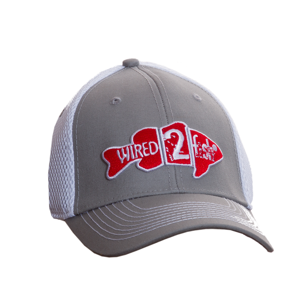 Wired2fish Grey with White Mesh Back Hat