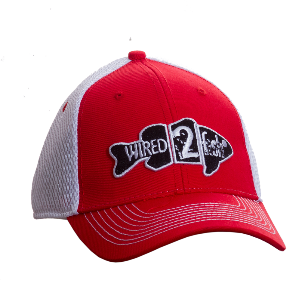 Wired2fish Red with White Mesh Back Hat