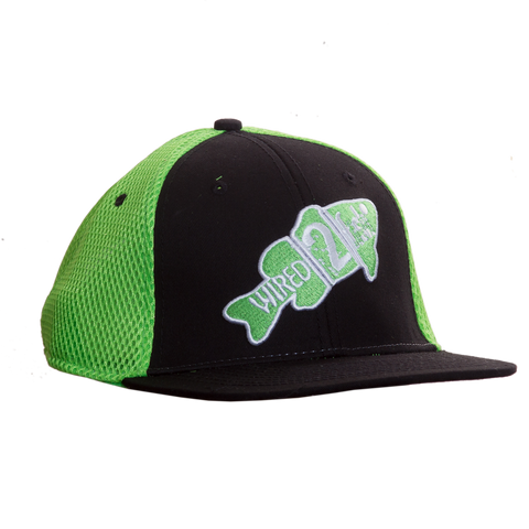 Wired2fish Black with Lime Green Mesh Flat Billed Hat