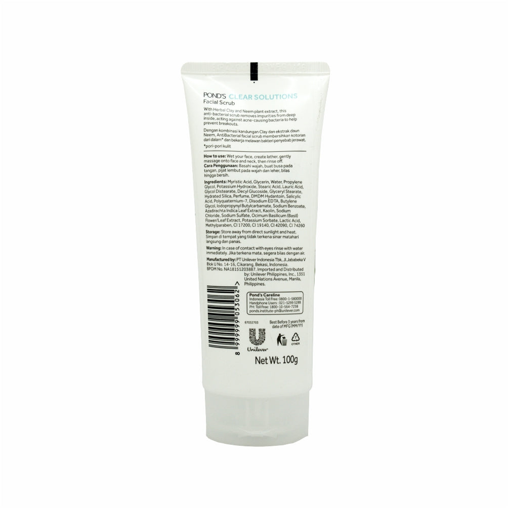 Pond's, Clear Solutions AntiBacterial + Oil Control Facial Scrub, 100 g