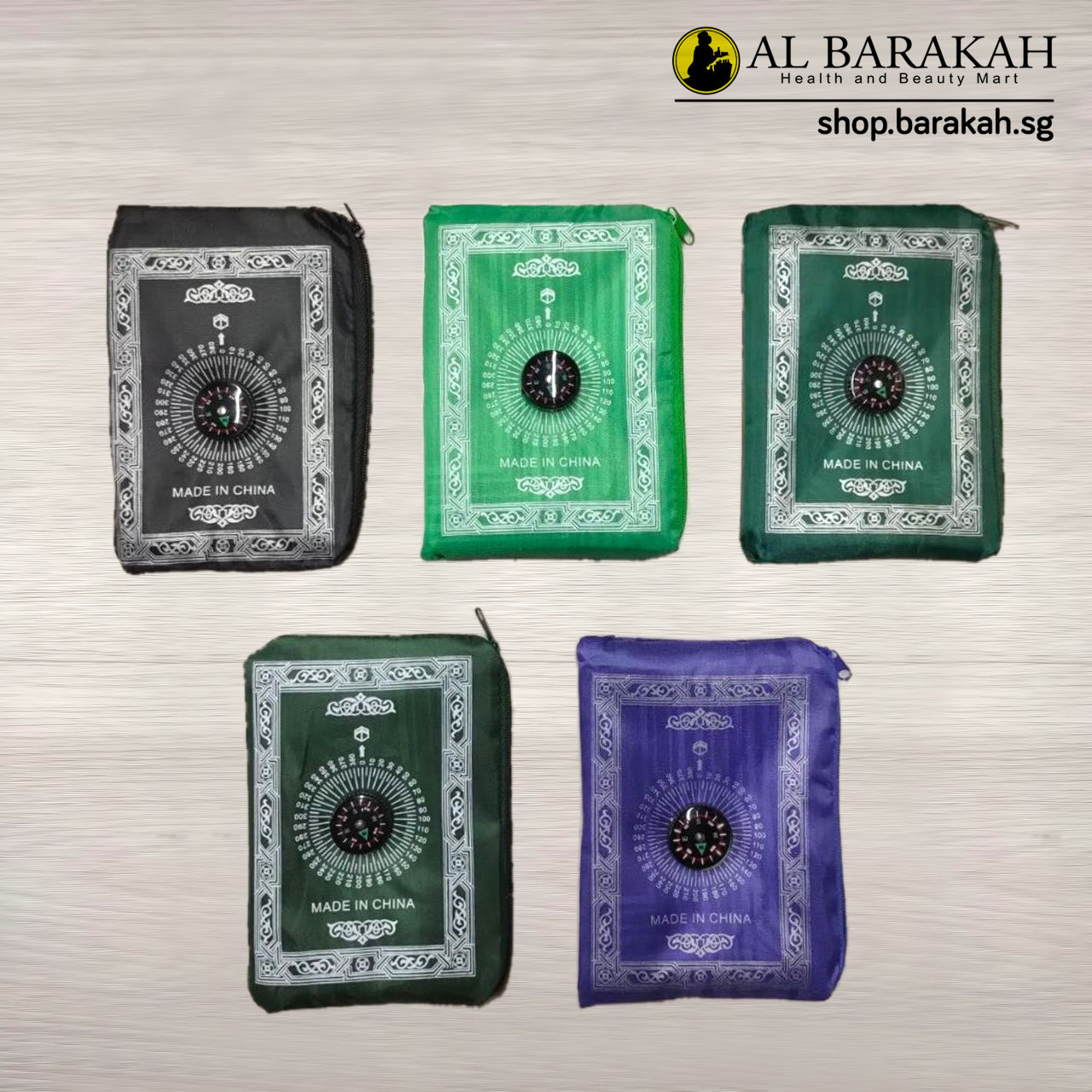 Sejadah Pocket Prayer Mat, with Compass