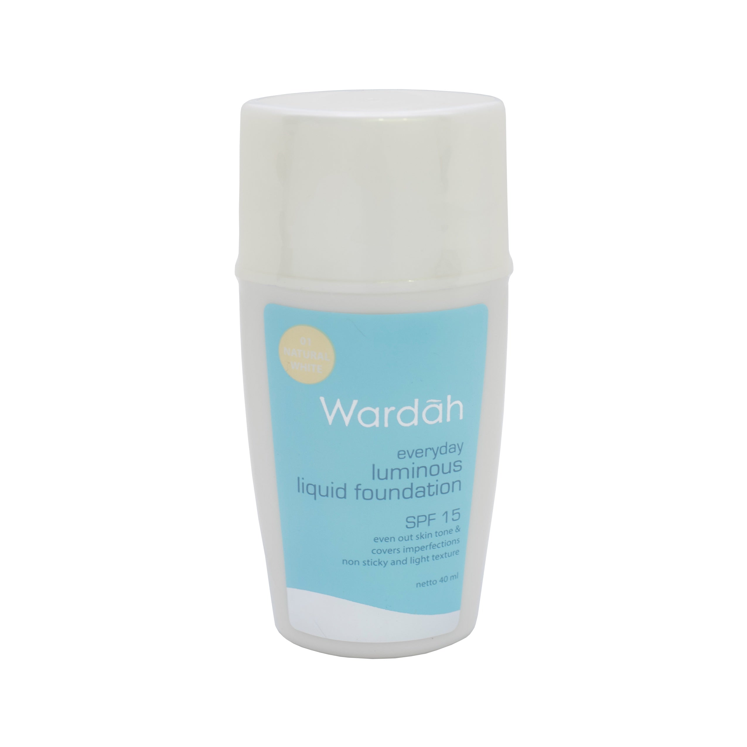 Wardah, Luminous Liquid Foundation SPF 15, 01 Natural White, 40 ml