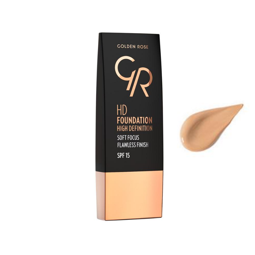 Golden Rose, HD Foundation High Definition SPF15, 103 Almond