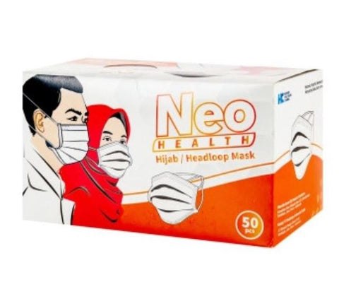 Neo Health, 3ply Hijab, Headloop Mask, 5pcs