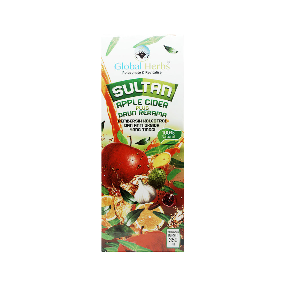 Global Herbs, Jus Sultan Apple Cider Plus Daun Rerama, 350 ml