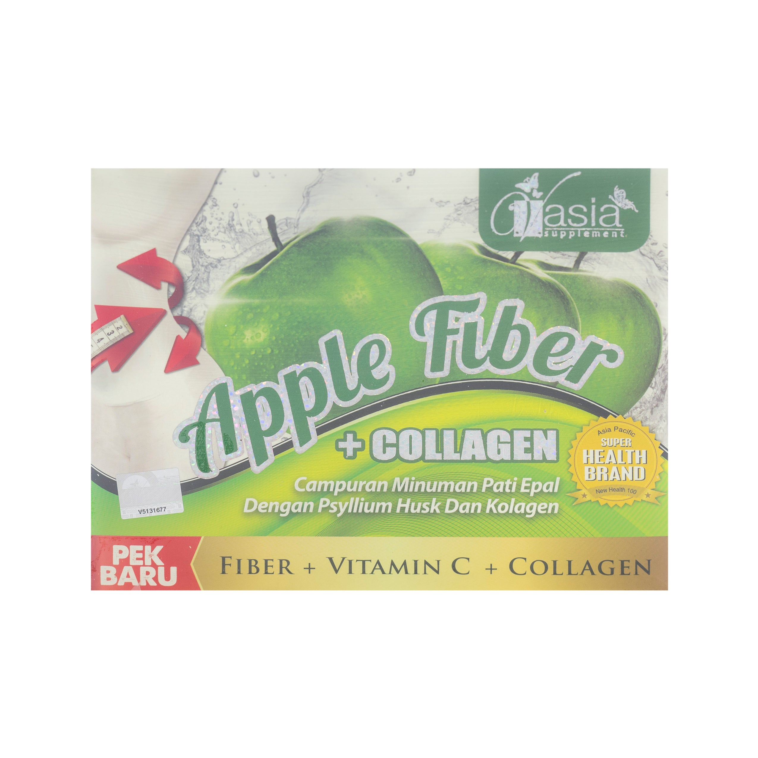 V'Asia, Apple Fiber + Collagen, 10 sachets X 15 gm