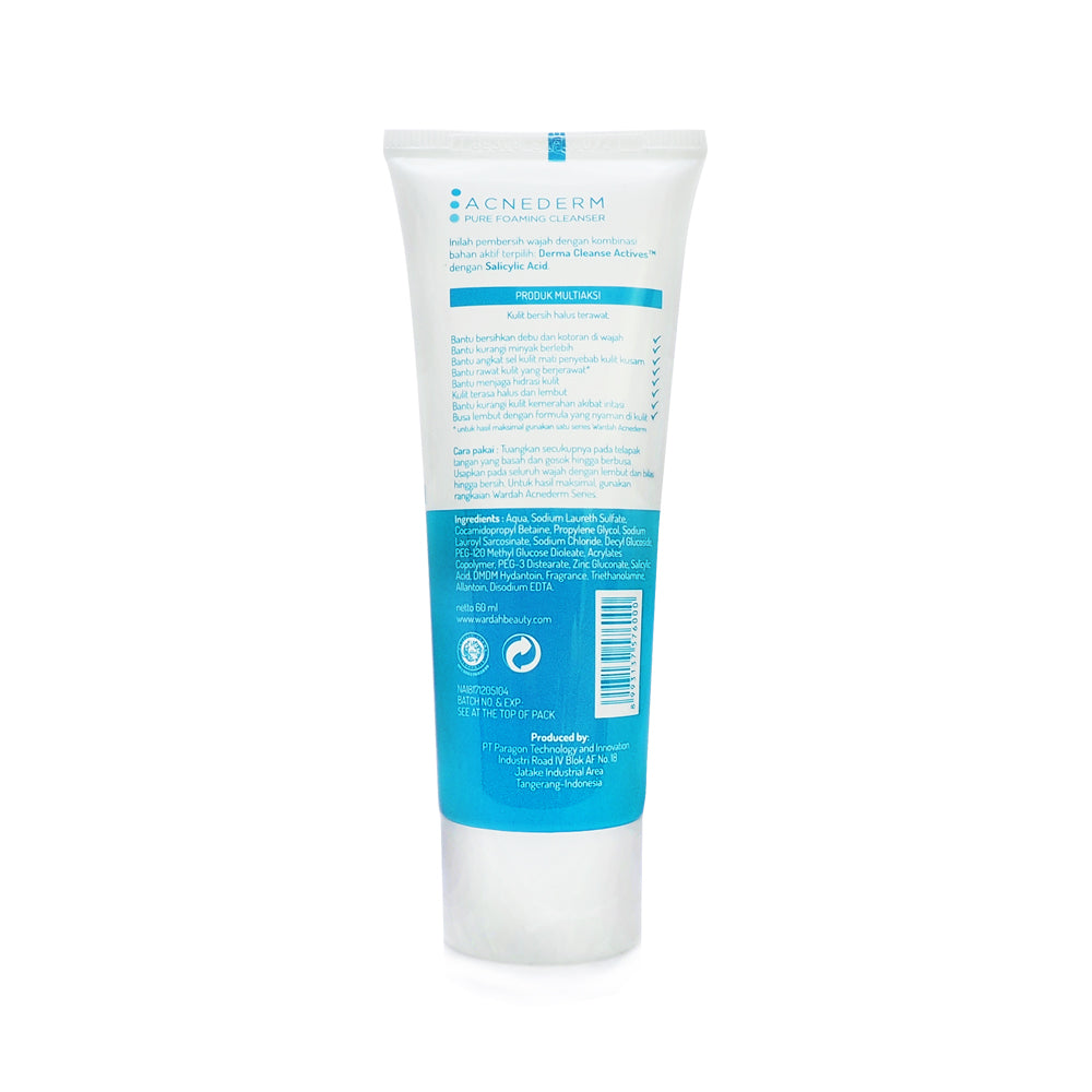 Wardah, Acnederm, Pure Foaming Cleanser, 60 ml