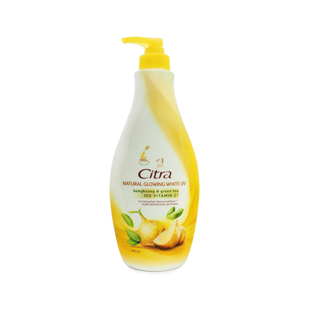 Citra, Natural Glowing White Hand & Body Lotion Bengkoang & Green Tea, 380 ml