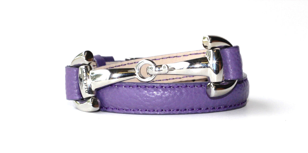 Wrap Leather Bracelet with Silver Snaffle - Purple