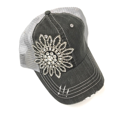 Flower Studded, distressed Cap