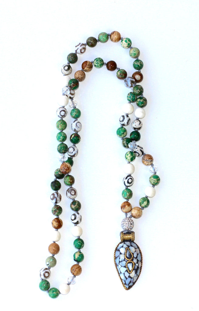 Glass Bead Necklace with Vintage Pendant