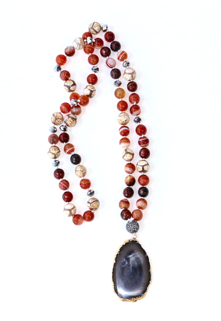 Glass Bead Necklace with Stylized Dark Grey Agate Pendant