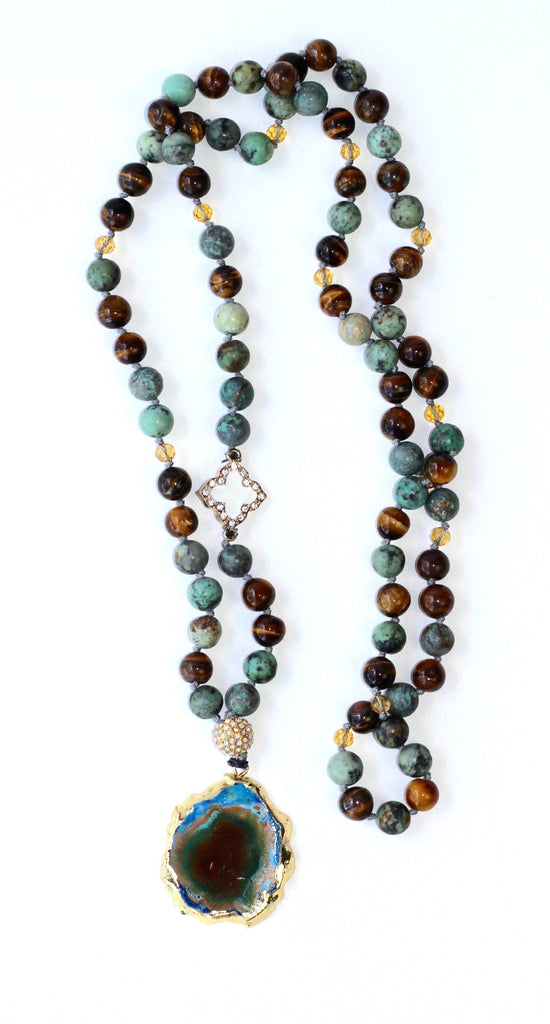 Glass Bead Necklace with Stylized Agate Pendant
