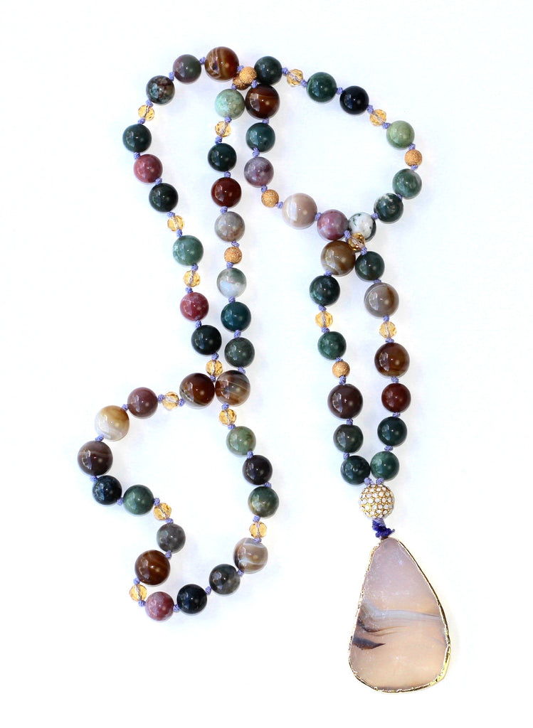 Glass Bead Necklace with Stylized Clear Agate Pendant