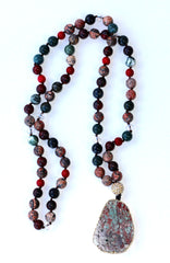 Glass Bead Necklace with Stylized Painted Pendant