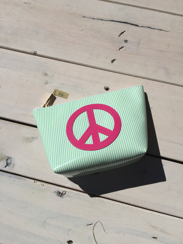 Medium Makeup Bag - Green Stripped