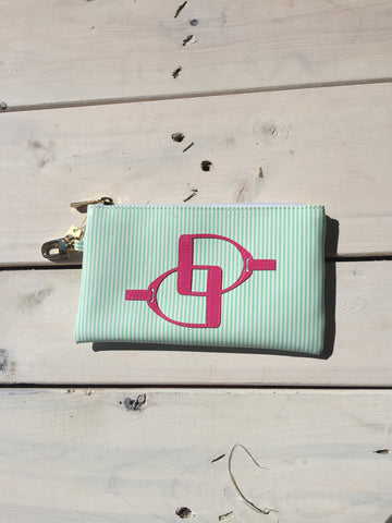 Green Stripped Pouch - Pink Stirrups