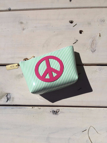 Green Stripped Mini Clutch - Pink Peace Sign