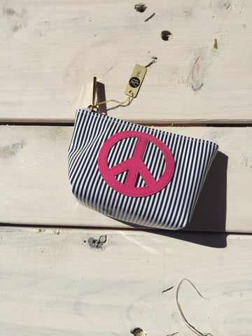 Black Stripped Mini Clutch - Pink Peace Sign