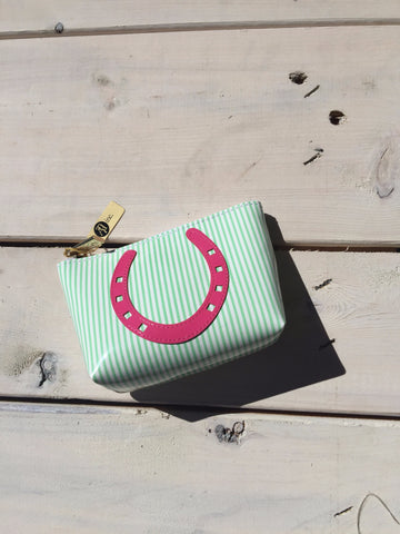 Green Stripe Mini Clutch - Pink Horseshoe