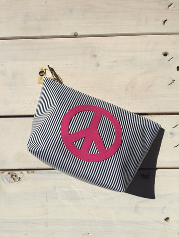 Medium Makeup Bag - Black Stripped