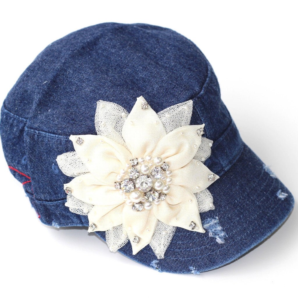 Distressed Cadet with Mixed Media Flower - Denim