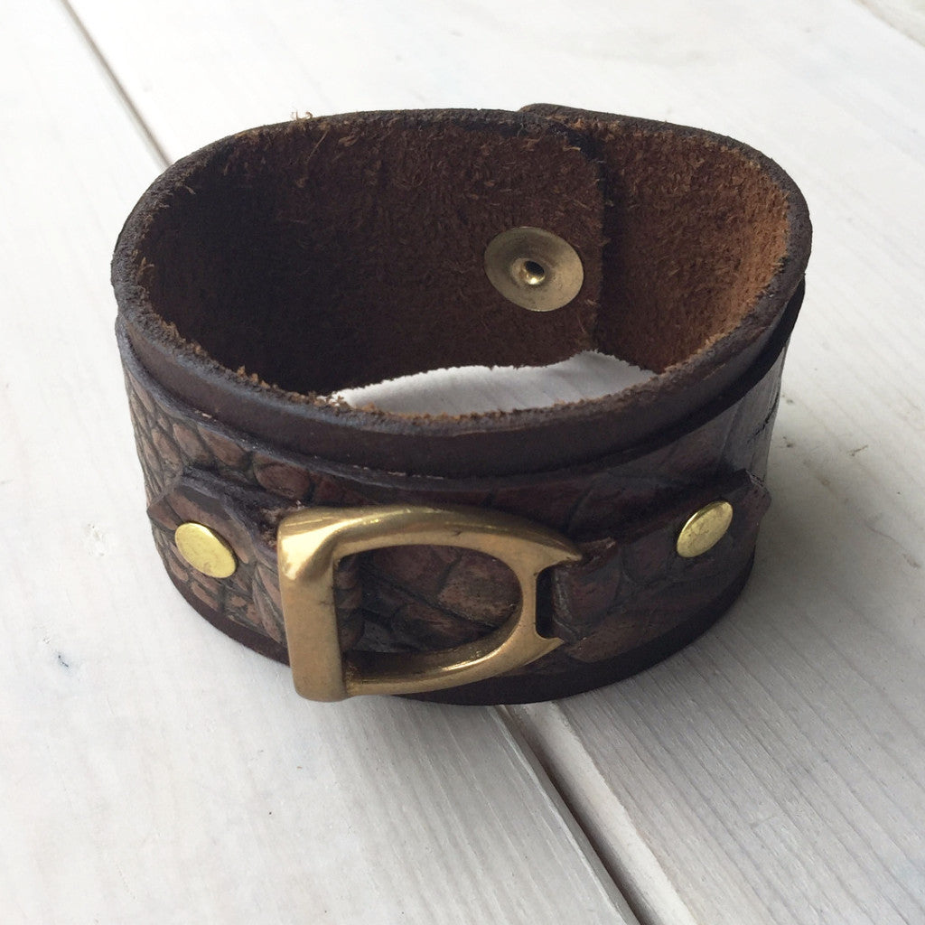 Leather Cuff w/ Gold Ring