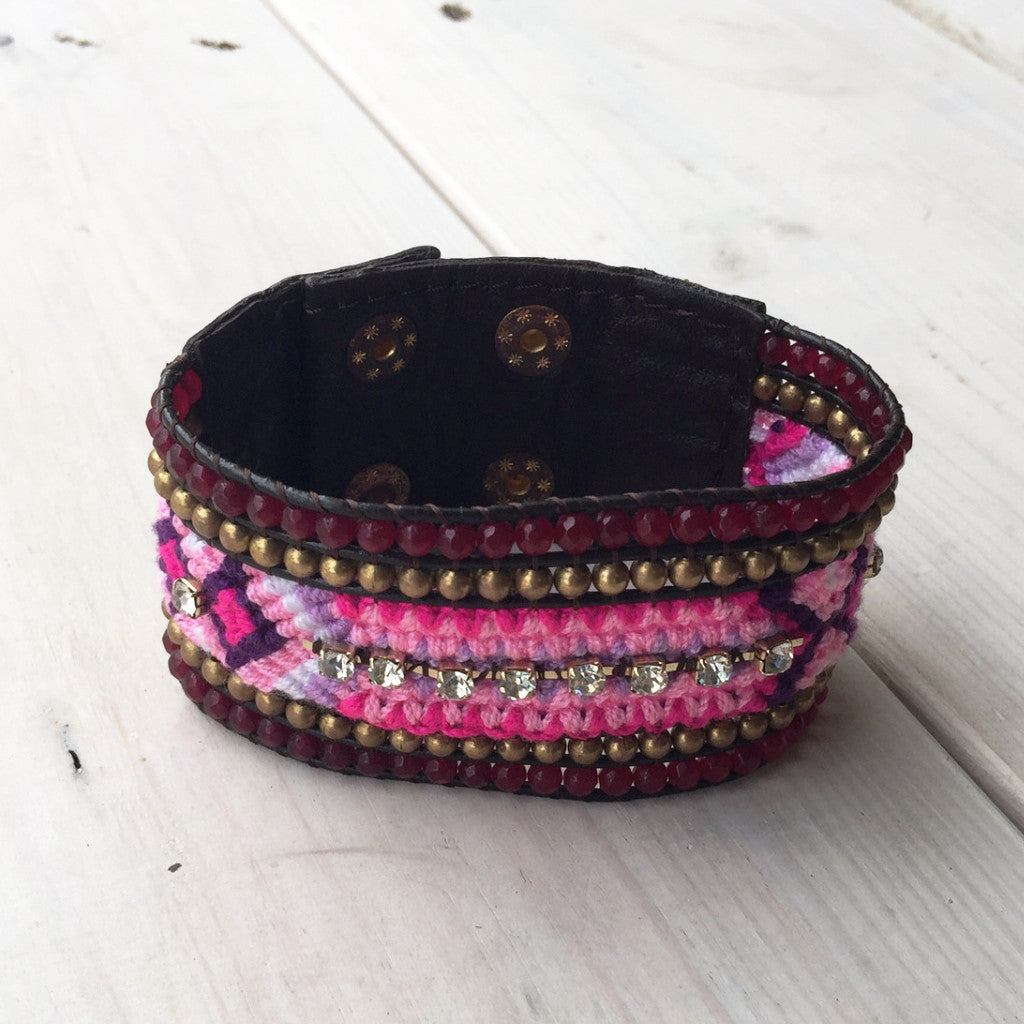 Cuff w/ Fabric and Crystals