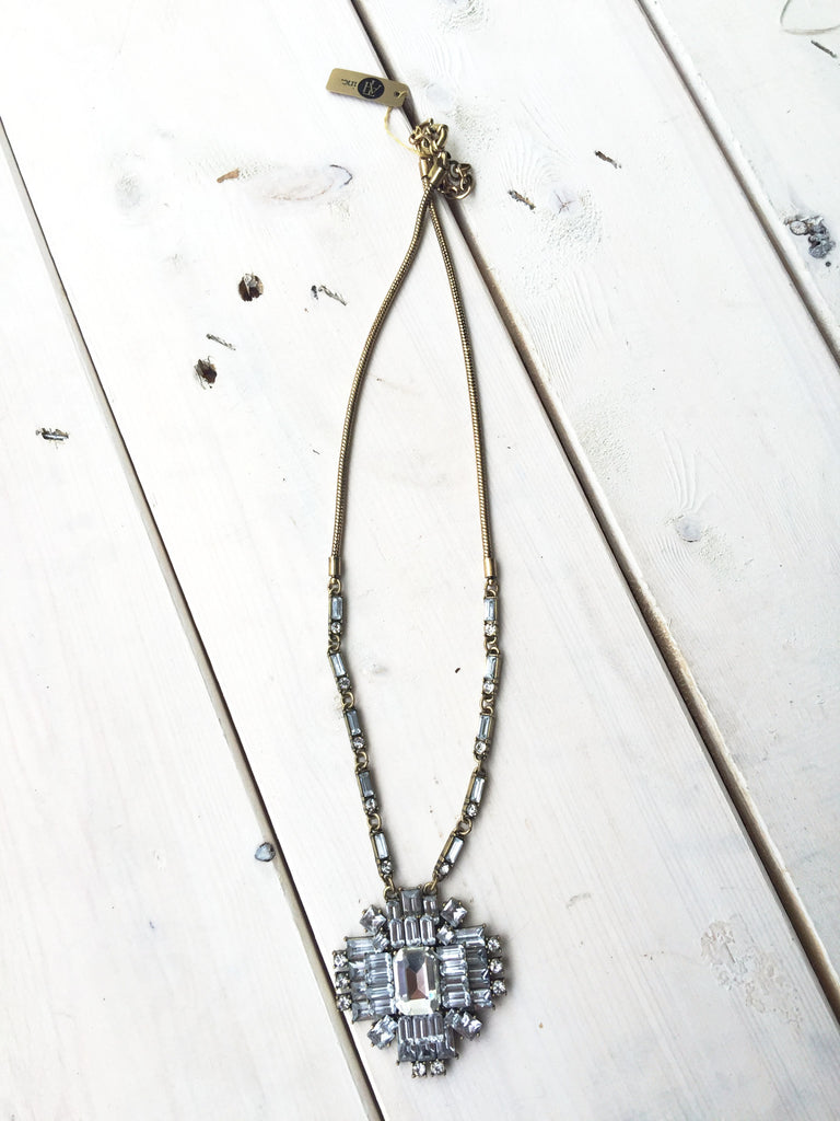 Gold Necklace w/ Crystal Pendant