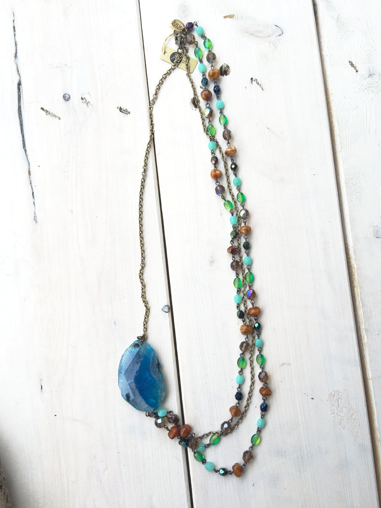 Beaded Necklace w/ Blue Gem
