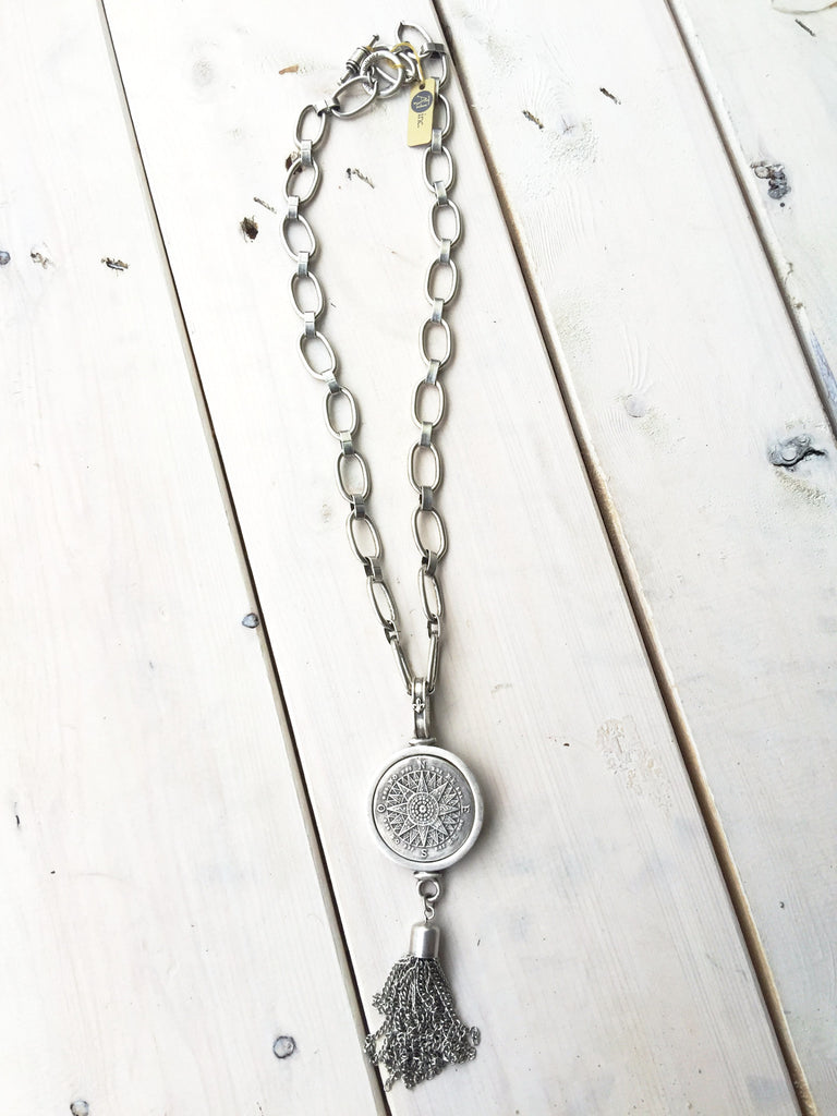 Long Silver Necklace - Compass