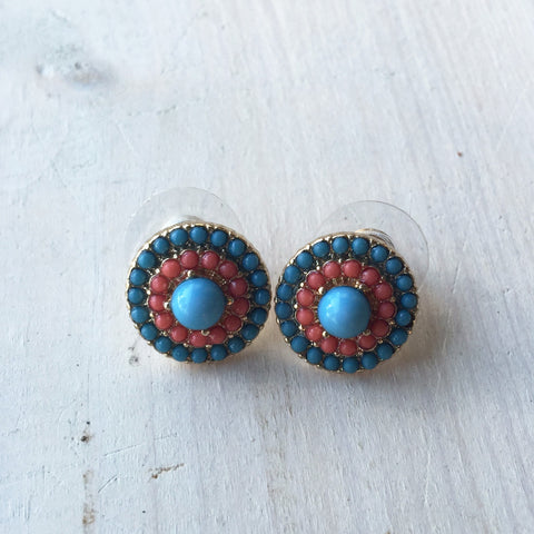 Stud Earrings - Blue & Orange