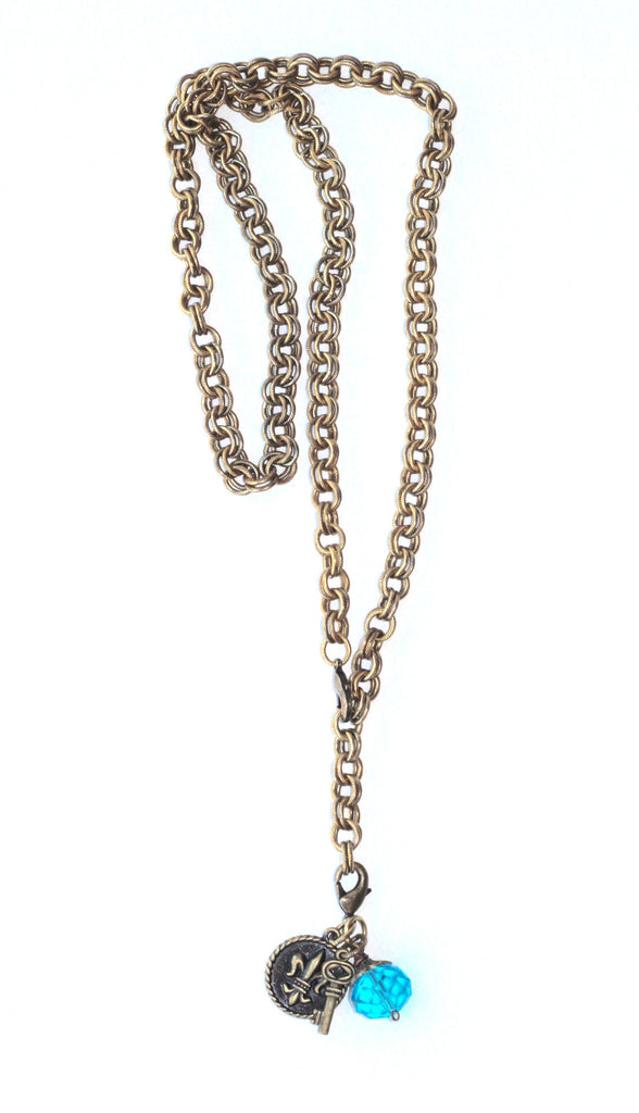 Double Chain Necklace with Charms - Blue