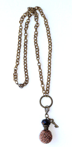 Double Chain Necklace with Metallic Studded Charm