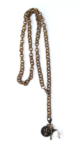 Double Chain Necklace with Charms - Pearl