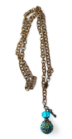 Double Chain Necklace with Metallic Studded Charm - Blue