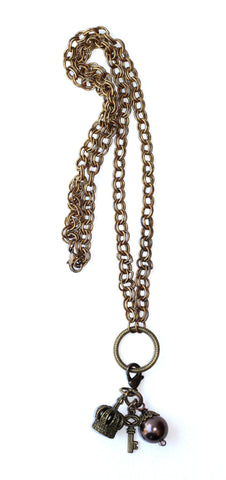 Double Chain Necklace with Charms - Metallic Burgandy
