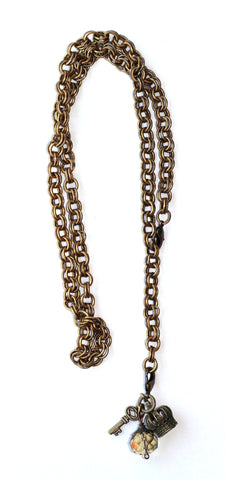 Double Chain Necklace with Charms - Champagne